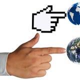 Cursor da mão e mão humana Fotos de Stock Royalty Free