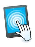 Cursor da mão e PC da tabuleta Foto de Stock Royalty Free