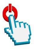 cursor de la mano 3d en el botón espera Foto de archivo