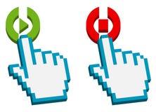 Cursor de la mano en juego y el botón de paro Foto de archivo libre de regalías