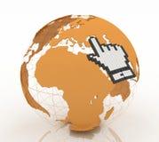 Cursor de la mano y globo de la tierra Imagen de archivo libre de regalías