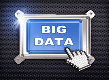 Cursor des Knopfes 3d Hand- große Daten Stockfoto