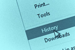 Cursor do computador que aponta à história do navegador de Internet na gota dow imagens de stock