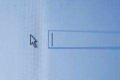 Cursor en una pantalla azul del rectángulo de la búsqueda Foto de archivo