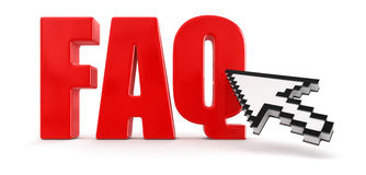 Cursor  and faq (clipping path included) Royalty Free Stock Images