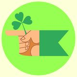 Cursor on the festival day of Patrick hand and. The hand indicates the direction of the green Patricks day holiday Shamrock Irish stock illustration