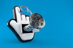 Cursor with film reel. Isolated on blue background. 3d illustration stock illustration
