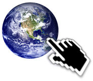 Cursor and globe Royalty Free Stock Photos
