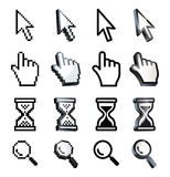 Cursor. Hand, arrow, hourglass, magnifying Stock Photos