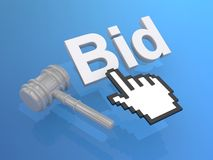 Cursor hand and bid button Royalty Free Stock Images