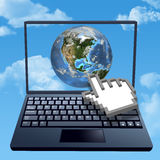 Cursor hand clicks internet cloud world. A hand cursor hand clicks on cloud computer internet world Royalty Free Stock Photography