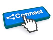 Cursor hand on connect button. 3d illustration of a cursor hand pressing a blue connect button with a white background Stock Image