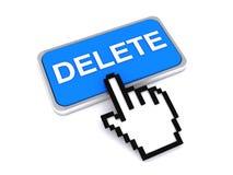 Cursor hand on delete button. Illustration of cursor hand touching blue delete button, isolated on white background Stock Photos