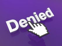 Cursor hand on denied button Stock Images