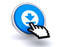 Cursor hand on a download button. 3d illustration of a cursor hand on a download button with a white background Stock Images