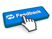 Cursor hand and feedback button. Illustration of a cursor hand on top of a blue feedback button with a white background Stock Photo