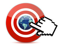 Cursor hand and globe. Cursor hand clicks on search engine marketing SEM world Stock Images
