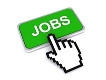 Cursor hand on jobs button Stock Images