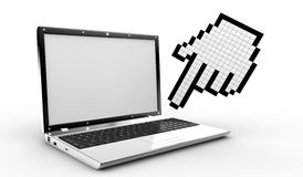 Cursor hand and laptop Stock Images