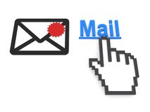 Cursor hand and mail icon Royalty Free Stock Images