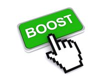 Cursor hand over boost button Stock Image
