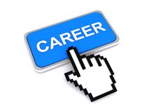 Cursor hand over career button Royalty Free Stock Image