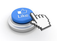Cursor Hand over Like Icon Button. Three dimensional illustration of Hand Cursor clickling on Like  Button Stock Image