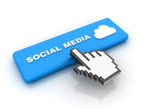 Cursor Hand over Social Media Button Stock Image