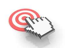 Cursor Hand over the target. Three dimensional illustration of Hand Cursor clickling on a red target Stock Photography
