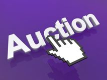 Cursor hand over word auction Royalty Free Stock Photography