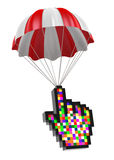 Cursor Hand and Parachute Royalty Free Stock Photos