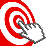 Cursor hand points to select red target bulls-eye. A pixel computer cursor hand icon clicks on the bullseye of a red target Stock Image