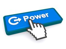 Cursor hand on power button Royalty Free Stock Images