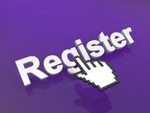 Cursor hand on register button Stock Photo