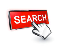 Cursor hand and search button Royalty Free Stock Images