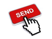 Cursor hand on send button Stock Images