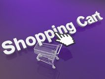 Cursor hand on shopping cart Royalty Free Stock Photo