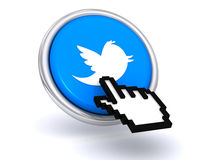 Cursor hand on twitter button. 3d illustration of cursor hand on blue twitter button, isolated on a white background Stock Photos