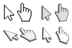 Cursor hands and arrows Royalty Free Stock Images