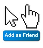 Cursor hands and social media button Stock Photo