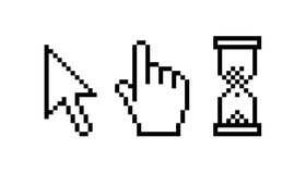 Cursor icon. Three types of pixelated cursor icons. Vector available Stock Photo