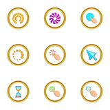 Cursor icons set, cartoon style. Cursor icons set. Cartoon set of 9 cursor vector icons for web isolated on white background Royalty Free Stock Photos
