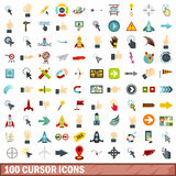 100 cursor icons set, flat style. 100 cursor icons set in flat style for any design vector illustration Stock Photography