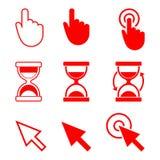 Cursor-Ikonen, Hand, Sanduhr, Pfeil Stockbild