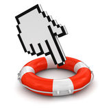Cursor and Lifebuoy (clipping path included) Royalty Free Stock Photos