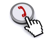 Cursor over telephone button Royalty Free Stock Photos