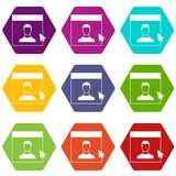 Cursor point man on monitor icon set color hexahedron. Cursor point to person on monitor in simple style isolated on white background vector illustration Royalty Free Stock Image