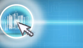 Cursor pressing on virtual city model Royalty Free Stock Images