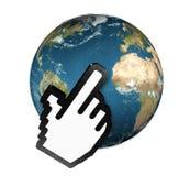 Cursor que hace clic la tierra del planeta Foto de archivo