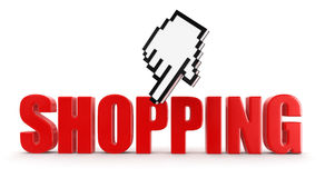 Cursor and Shopping (clipping path included) Royalty Free Stock Photos